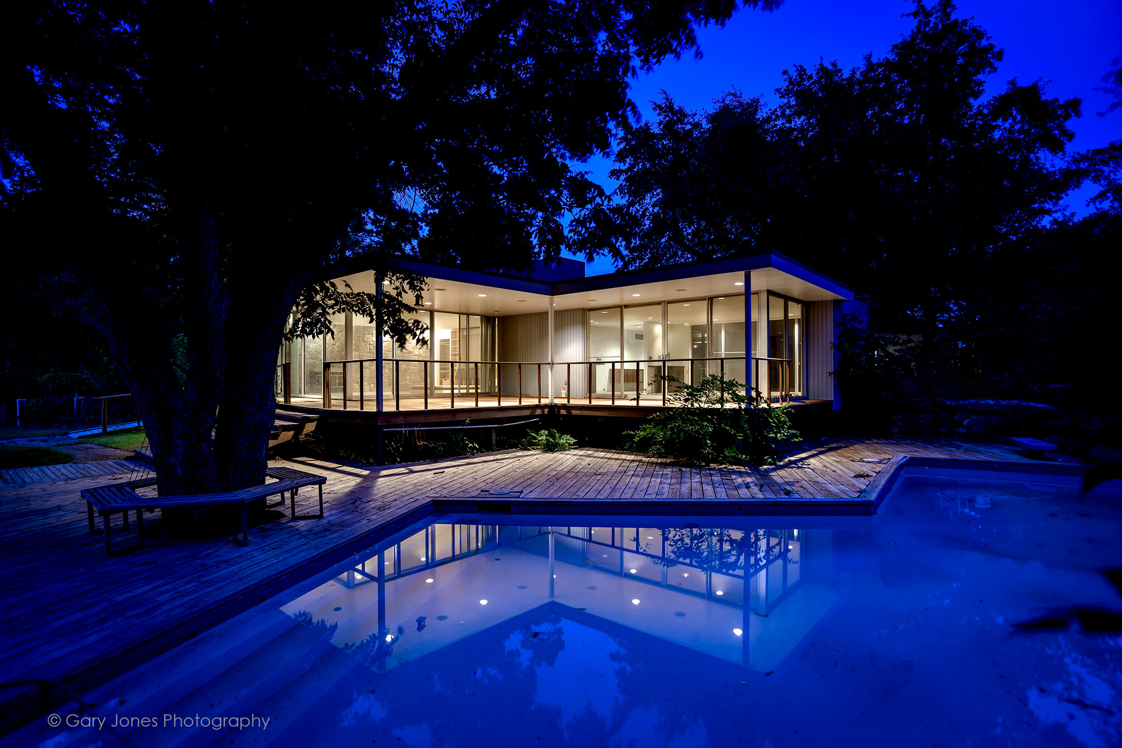 Mid-Century modern home with pool